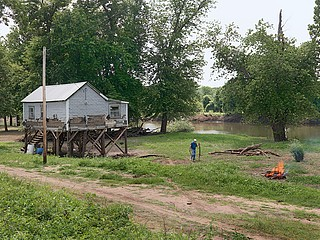 Dave Jordano: Mr. Thompson and His Flood Destroyed House, near Hull, IL, 2008