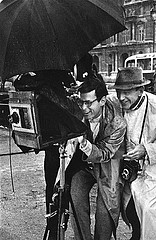 David Seymour: Richard Avedon and Fred Astaire on the set of Funny Face, 1956