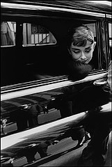 Dennis Stock: Aubrey Hepburn during filming of Sabrina, 1954