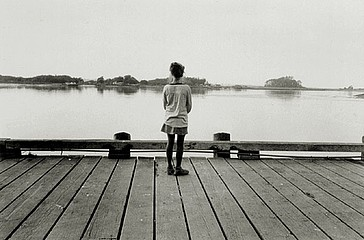 Elaine Mayes: Girl on Dock, Eureka,  CA, 1972