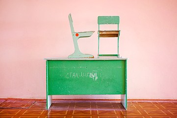 Frank Ward: Desk, Chairs, Graffiti, Elista, Russia, 2009