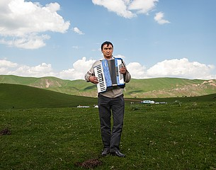 Frank Ward: Accordion Player, High Pastures, Kyrgyzstan, 2012
