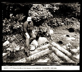 Jim Stone: Ramon, With Bowling Balls and Rocks in his Garden: Rochester, New York, 1985