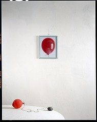 John Chervinsky: Baloon, Rock on Table with Painting, 2011