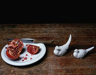 Justine Reyes: Still Life with Pomegranate and Birds, 2009