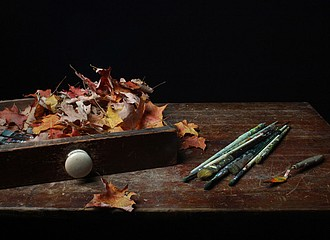Justine Reyes: Still Life with Paint Brushes and Leaves