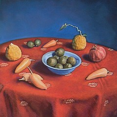 Kate Breakey: Still Life with Limes in a Blue Bowl