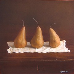 Kate Breakey: Still Life with Three Pears on a Doily