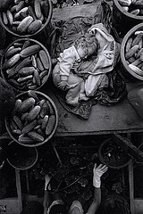 Larry Towell: Baby on Cucumber Machine, 1991
