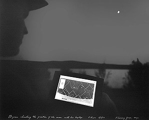 Mark Klett: Byron Checking the Position of the Moon with His Lap Top Flaming Gorge, WY, 1997