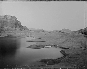 Mark Klett: Campsite Reached by Boat Through Watery Canyons, Lake Powell, 1983