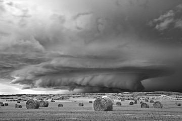 Mitch Dobrowner: Strata Storm and Bales, 2015