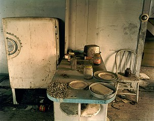 Steve Fitch: Kitchen in a house near Regent, western North Dakota, May 18, 2001