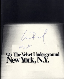 c/o The Velvet Underground, New York, N.Y.--Exhibition Catalogue--SIGNED by Lou Reed & Moe Tucker
